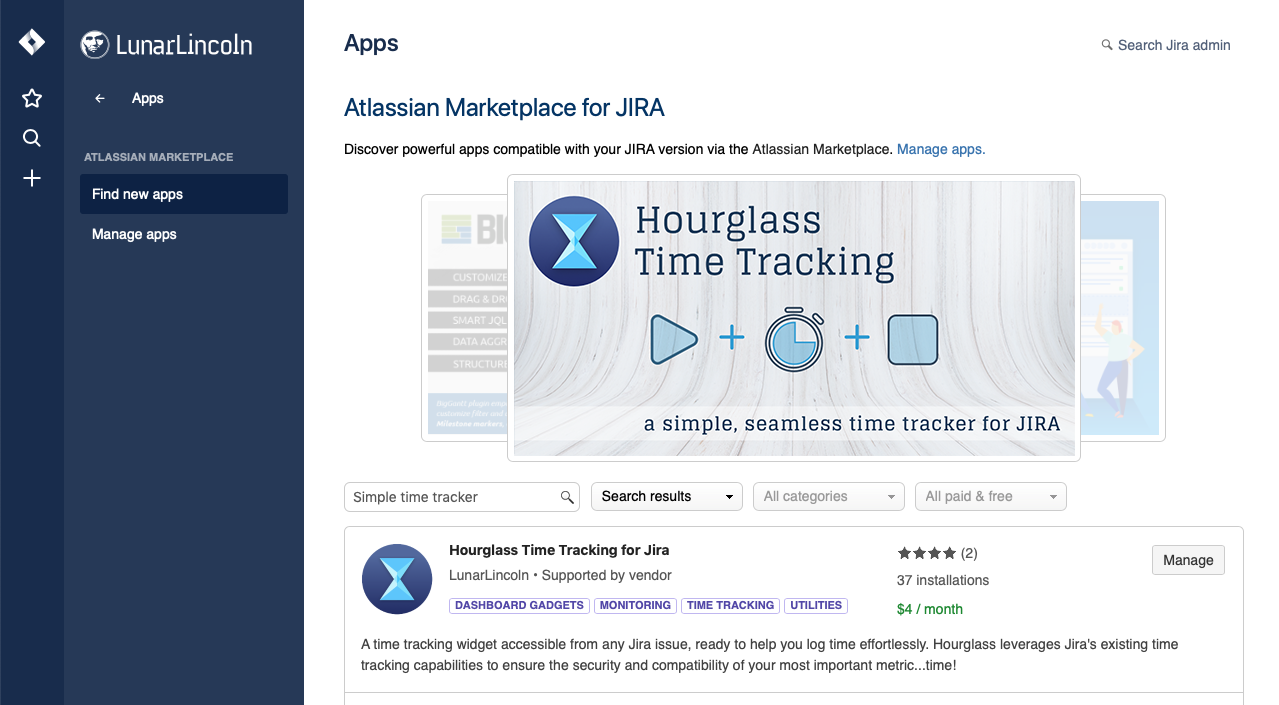 Atlassian App Store - Hourglass Time Tracking for JIRA Cloud Listing